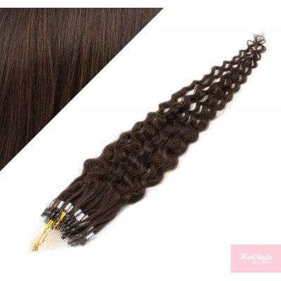 20˝ (50cm) Micro ring human hair extensions curly- dark brown