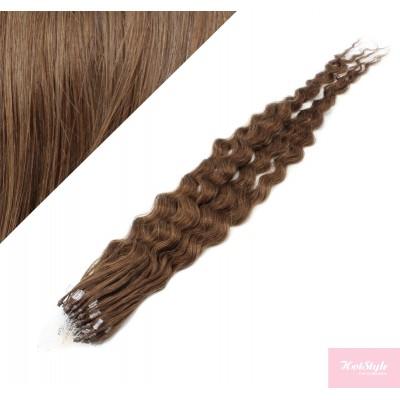 20˝ (50cm) Micro ring human hair extensions curly- medium light brown