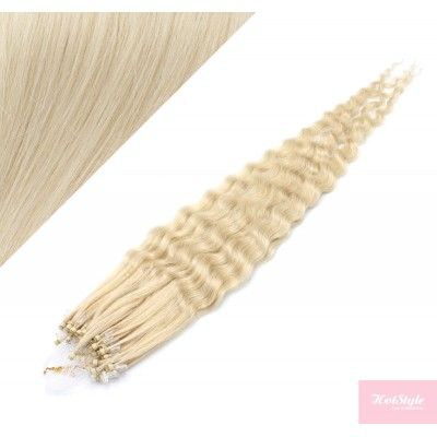 20˝ (50cm) Micro ring human hair extensions curly- platinum blonde
