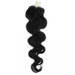 24˝ (60cm) Micro ring human hair extensions wavy - black