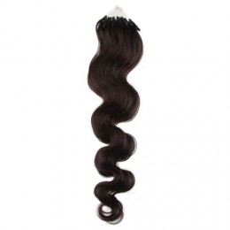 24˝ (60cm) Micro ring human hair extensions wavy - natural black
