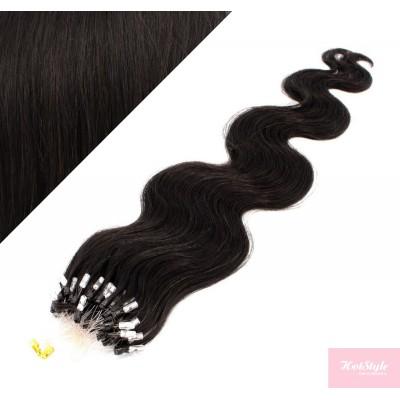 24˝ (60cm) Micro ring human hair extensions wavy - natural black