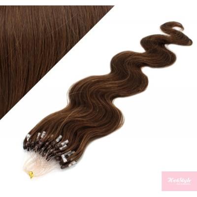 24˝ (60cm) Micro ring human hair extensions wavy - medium brown