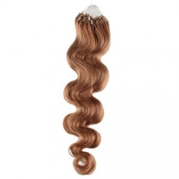 24˝ (60cm) Micro ring human hair extensions wavy - light brown