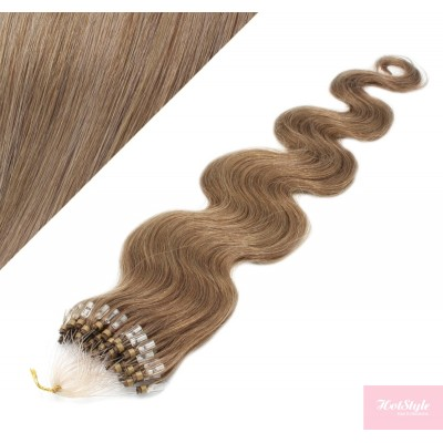 24˝ (60cm) Micro ring human hair extensions wavy - light brown
