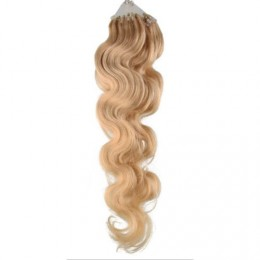 24˝ (60cm) Micro ring human hair extensions wavy - natural blonde