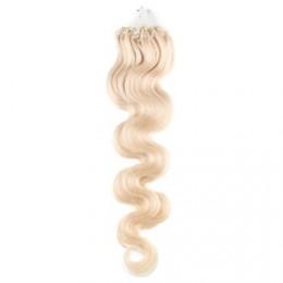 24˝ (60cm) Micro ring human hair extensions wavy - platinum blonde