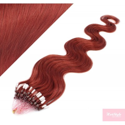 24˝ (60cm) Micro ring human hair extensions wavy - copper red