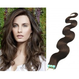 20˝ (50cm) Tape Hair / Tape IN human REMY hair wavy - dark brown