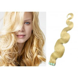 20˝ (50cm) Tape Hair / Tape IN human REMY hair wavy - the lightest blonde