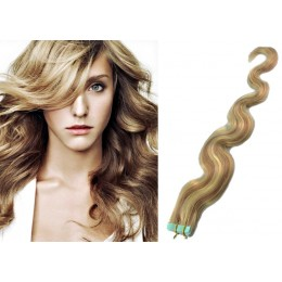20˝ (50cm) Tape Hair / Tape IN human REMY hair wavy - mixed blonde