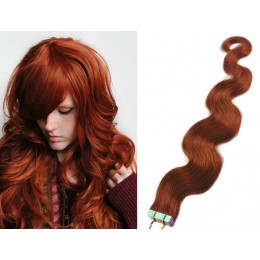 20˝ (50cm) Tape Hair / Tape IN human REMY hair wavy - copper red