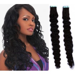 20˝ (50cm) Tape Hair / Tape IN human REMY hair curly - black