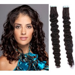 20˝ (50cm) Tape Hair / Tape IN human REMY hair curly - natural black