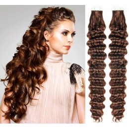 20˝ (50cm) Tape Hair / Tape IN human REMY hair curly - medium brown
