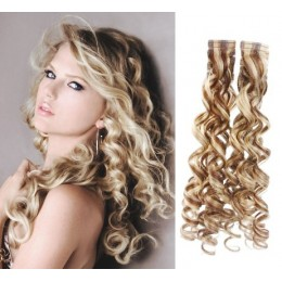 20˝ (50cm) Tape Hair / Tape IN human REMY hair curly - platinum / light brown