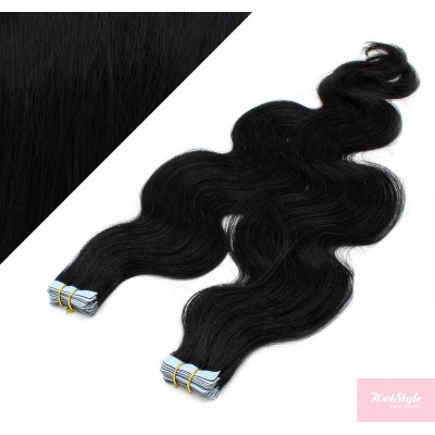 24˝ (60cm) Tape Hair / Tape IN human REMY hair wavy - black