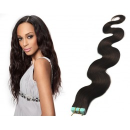 24˝ (60cm) Tape Hair / Tape IN human REMY hair wavy - natural black