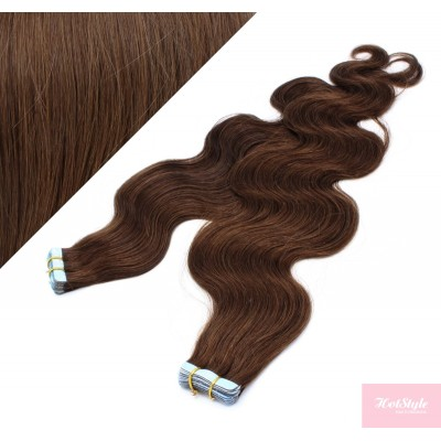 24˝ (60cm) Tape Hair / Tape IN human REMY hair wavy - medium brown