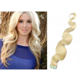 24˝ (60cm) Tape Hair / Tape IN human REMY hair wavy - platinum blonde