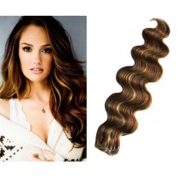 24˝ (60cm) Tape Hair / Tape IN human REMY hair wavy - dark brown / blonde