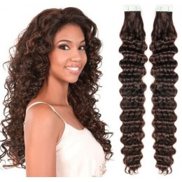 24˝ (60cm) Tape Hair / Tape IN human REMY hair curly - dark brown