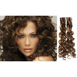 24˝ (60cm) Tape Hair / Tape IN human REMY hair curly - dark brown / blonde