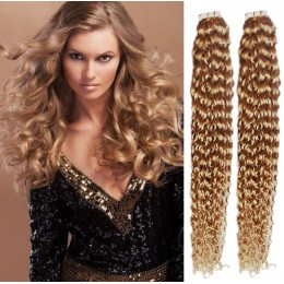 24˝ (60cm) Tape Hair / Tape IN human REMY hair curly - natural blonde / light blonde