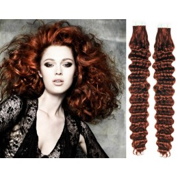 24˝ (60cm) Tape Hair / Tape IN human REMY hair curly - copper red