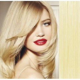 "15"" (40cm) Clip in human REMY hair 100g - the lightest blonde"