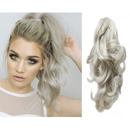 "Clip in ponytail wrap / braid hair extension 24"" wavy - natural/light blonde"