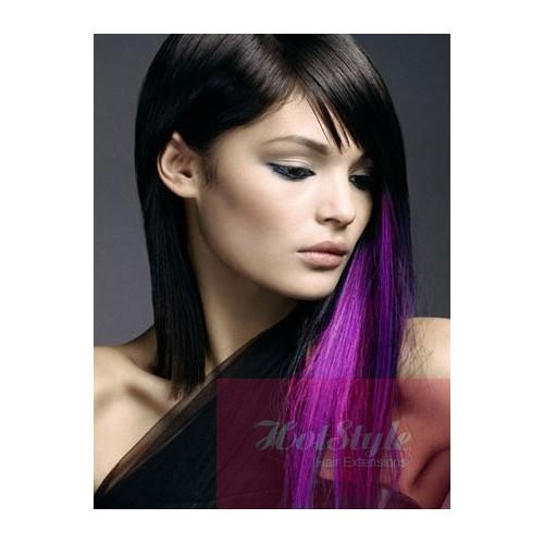 20 50cm Clip In Purple Human Hair Streak