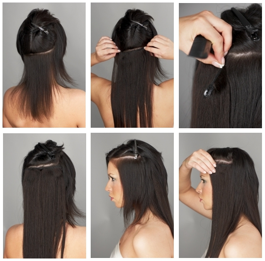 Clip in hair application