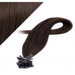 """24"""" (60cm) Nail tip / U tip human hair pre bonded extensions - dark brown"""