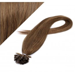 "24"" (60cm) Nail tip / U tip human hair pre bonded extensions - medium light brown"