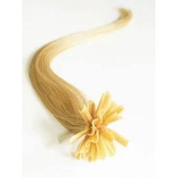 "24"" (60cm) Nail tip / U tip human hair pre bonded extensions – natural blonde"