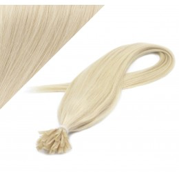 "24"" (60cm) Nail tip / U tip human hair pre bonded extensions - platinum blonde"
