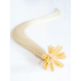 "24"" (60cm) Nail tip / U tip human hair pre bonded extensions – platinum blonde"