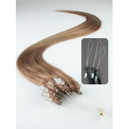 "20"" (50cm) Micro ring human hair extensions – light brown"