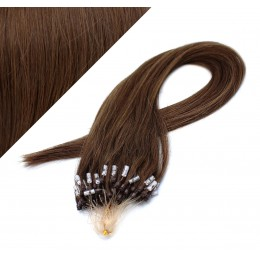 "24"" (60cm) Micro ring human hair extensions - medium brown"