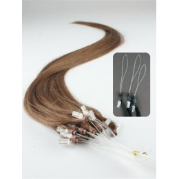 "24"" (60cm) Micro ring human hair extensions – medium light brown"