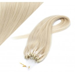 "24"" (60cm) Micro ring human hair extensions - platinum blonde"