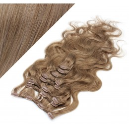 "20"" (50cm) Clip in wavy human REMY hair - light brown"