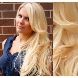 """20"""" (50cm) Clip in wavy human REMY hair - the lightest blonde"""