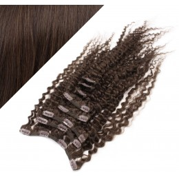 """20"""" (50cm) Clip in curly human REMY hair - dark brown"""