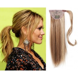 "Clip in ponytail wrap / braid hair extension 24"" straight - mixed blonde"