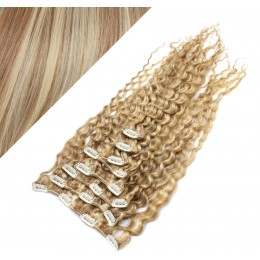 """20"""" (50cm) Clip in curly human REMY hair - mixed blonde"""