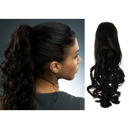 """Clip in ponytail wrap / braid hair extension 24"""" curly – black"""