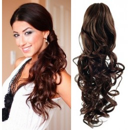 "Clip in ponytail wrap / braid hair extension 24"" curly – dark brown"