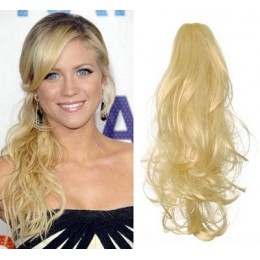 "Clip in ponytail wrap / braid hair extension 24"" curly – the lightest blonde"